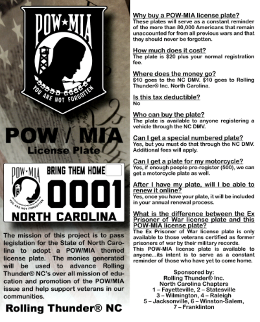 POW/MIA License Plate Campaign – Rolling Thunder NC1